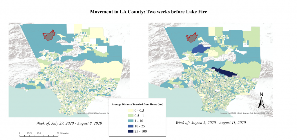 Map of Jovany Cota's work on wildfires and COVID-19 mobility.